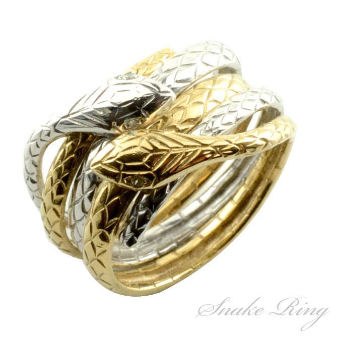 【送料無料】リング 指輪 蛇 ダイヤモンド 2連 ヘビ スネーク k18 18k 18金 干支 コンビ レディース イエロー ホワイト ゴールド 金運 開運 蛇リング ホワイトデー