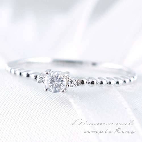 ダイヤモンドリング 指輪 k18 ダイヤモンドリング ピンキーリング エンゲージリング 18k スリーストーン ホワイトゴールド ダイヤ 婚約指輪 結婚指輪 レディース
