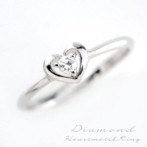 婚約指輪 結婚指輪 レディース エンゲージリング ダイヤモンド リング 指輪 k10 ダイヤモンドリング ピンキーリング 10k ハート ホワイトゴールド 1粒 一粒ダイヤ