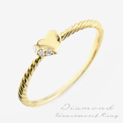 【送料無料】ダイヤモンドリング 指輪 k10 ダイヤモンドリング ピンキーリング 10k ハート イエローゴールド スリーストーン ダイヤ レディース クリスマス Xmas