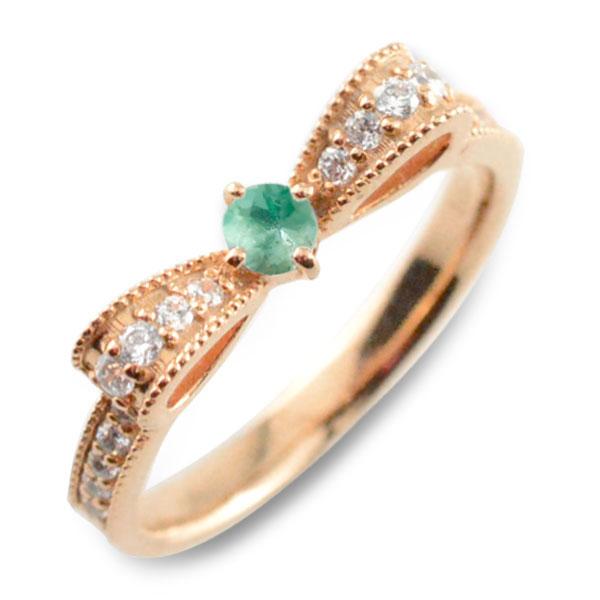 【送料無料】エメラルド ピンキーリング リボンリング ダイヤ リボン ダイヤモンド 指輪 誕生石 クラシカル ミルウチ ピンクゴールド k18 18k 18金 ダイヤ 婚約指輪 エンゲージリング 結婚指輪 レディース クリスマス Xmas