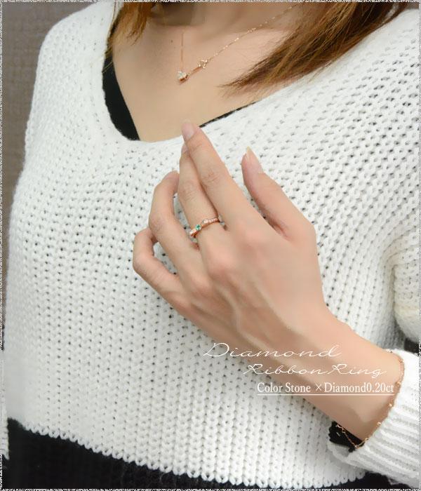 エメラルド ピンキーリング リボンリング ダイヤ リボン ダイヤモンド 指輪  誕生石 クラシカル ミルウチ ピンクゴールド k18 18k 18金 ダイヤ 婚約指輪 エンゲージリング 結婚指輪 レディース