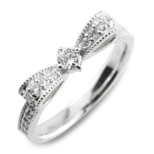 ピンキーリング プラチナ900 リボンリング ダイヤモンドエンゲージリング リボン ダイヤモンドリング 指輪 ダイヤモンド pt900 クラシカル ミルウチ ダイヤ 婚約指輪 エンゲージリング 結婚指輪 レディース