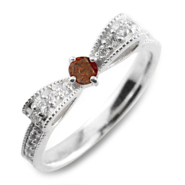 ガーネット ピンキーリング リボンリング ダイヤ リボン ダイヤモンド 指輪 誕生石 クラシカル ミルウチ ホワイトゴールド k18 18k 18金 ダイヤ 婚約指輪 エンゲージリング 結婚指輪 レディース