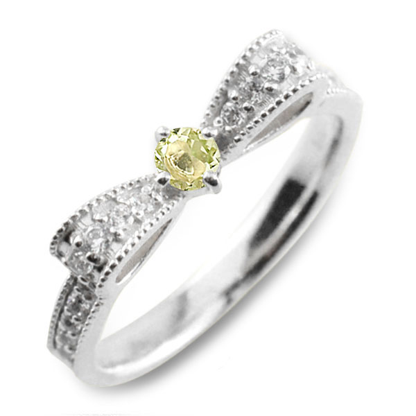 ぺリドット ピンキーリング リボンリング ダイヤ リボン ダイヤモンド 指輪 誕生石 クラシカル ミルウチ ホワイトゴールド k18 18k 18金 ダイヤ 婚約指輪 エンゲージリング 結婚指輪 レディース
