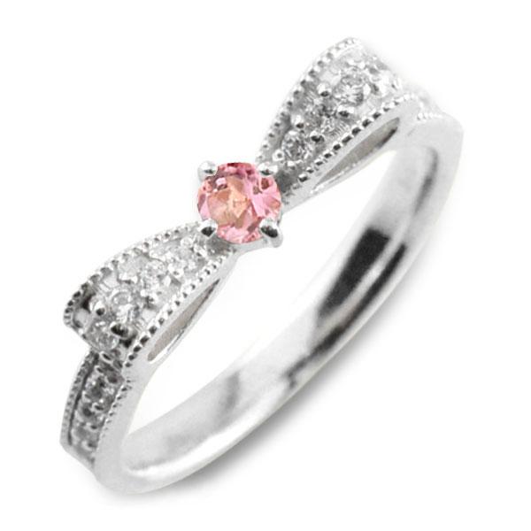 ピンクトルマリン トルマリン ピンキーリング リボンリング ダイヤ リボン ダイヤモンド 指輪 誕生石 クラシカル ミルウチ ホワイトゴールド k18 18k 18金 ダイヤ 婚約指輪 エンゲージリング 結婚指輪 レディース
