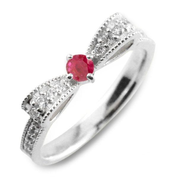 ルビー ピンキーリング リボンリング ダイヤ リボン ダイヤモンド 指輪 誕生石 クラシカル ミルウチ プラチナ pt900 ダイヤ 婚約指輪 エンゲージリング 結婚指輪 レディース