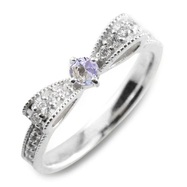 タンザナイト ピンキーリング リボンリング ダイヤ リボン ダイヤモンド 指輪 誕生石 クラシカル ミルウチ プラチナ pt900 ダイヤ 婚約指輪 エンゲージリング 結婚指輪 レディース