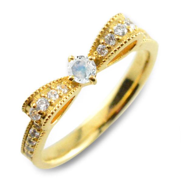 ブルームーン ピンキーリング リボンリング ダイヤ リボン ダイヤモンド 指輪 誕生石 クラシカル ミルウチ イエローゴールド k18 18k 18金 ダイヤ 婚約指輪 エンゲージリング 結婚指輪 レディース