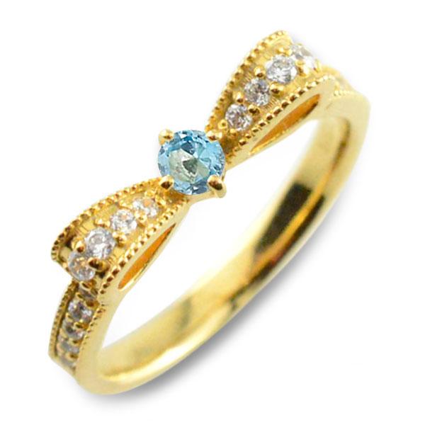 ブルートパーズ ピンキーリング リボンリング ダイヤ リボン ダイヤモンド 指輪 誕生石 クラシカル ミルウチ イエローゴールド k18 18k 18金 ダイヤ 婚約指輪 エンゲージリング 結婚指輪 レディース