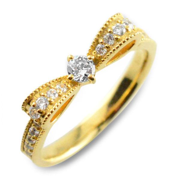 【送料無料】婚約指輪 エンゲージリング 結婚指輪 ピンキーリング リボンリング ダイヤモンドエンゲージリング リボン ダイヤモンドリング 指輪 ダイヤモンド クラシカル ミルウチ イエローゴールドk18 ダイヤレディース クリスマス Xmas