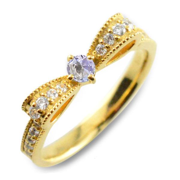 タンザナイト ピンキーリング リボンリング ダイヤ リボン ダイヤモンド 指輪 誕生石 クラシカル ミルウチ イエローゴールド k18 18k 18金 ダイヤ 婚約指輪 エンゲージリング 結婚指輪 レディース