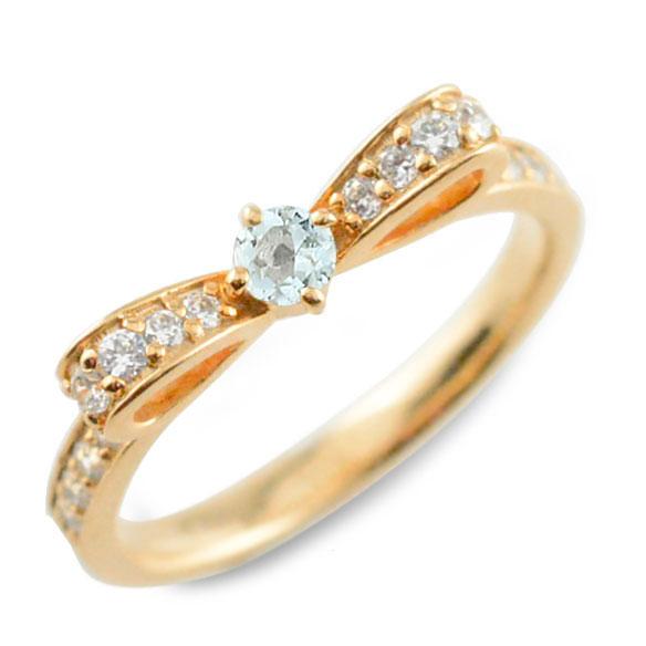 【送料無料】アクアマリン ピンキーリング リボンリング リボン ダイヤモンド リング k18 18k 18金 指輪 ダイヤモンド 誕生石 ピンクゴールドk18 ダイヤ 婚約指輪 結婚指輪 レディース ホワイトデー
