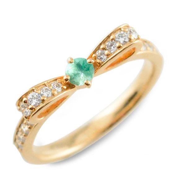 あす楽対応 翌日配達 あす楽 【送料無料】エメラルド 13号 リング リボンリング リボン ダイヤモンド リング k18 18k 18金 指輪 ダイヤモンド 誕生石 ピンクゴールドk18 ダイヤ 婚約指輪 結婚指輪 レディース クリスマス Xmas