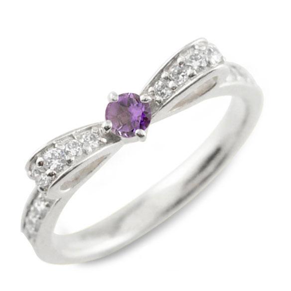 【送料無料】アメジスト ピンキーリング リボンリング リボン ダイヤモンド リング k18 18k 18金 指輪 ダイヤモンド 誕生石 ホワイトゴールドk18 ダイヤ 婚約指輪 結婚指輪 レディース ホワイトデー