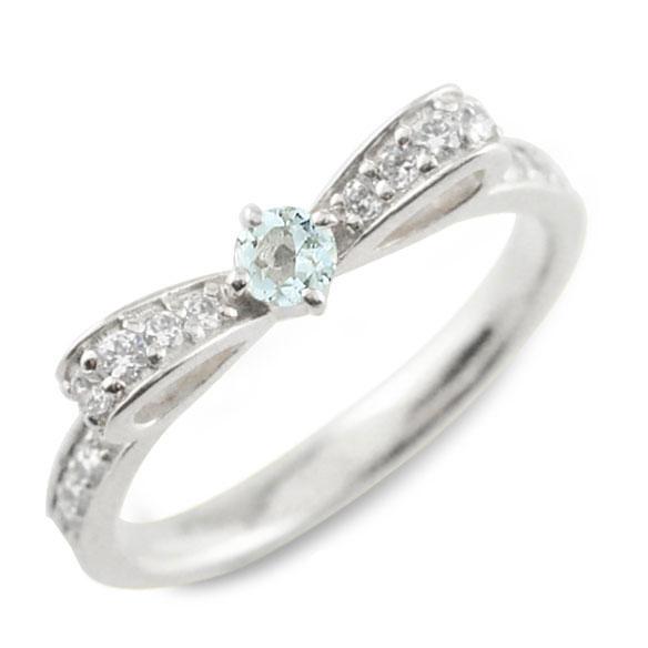 【送料無料】アクアマリン ピンキーリング リボンリング リボン ダイヤモンド リング プラチナ 指輪 ダイヤモンド 誕生石 pt900 ダイヤ 婚約指輪 結婚指輪 レディース ホワイトデー