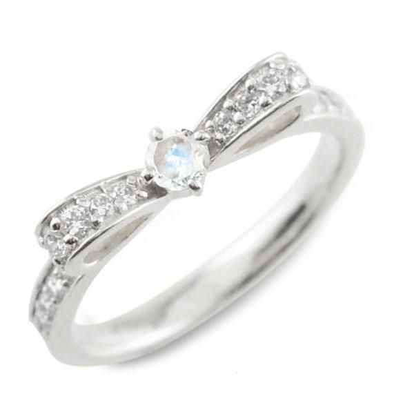 ブルームーン ピンキーリング リボンリング リボン ダイヤモンド リング k18 18k 18金 指輪 ダイヤモンド 誕生石 ホワイトゴールドk18 ダイヤ 婚約指輪 結婚指輪 レディース