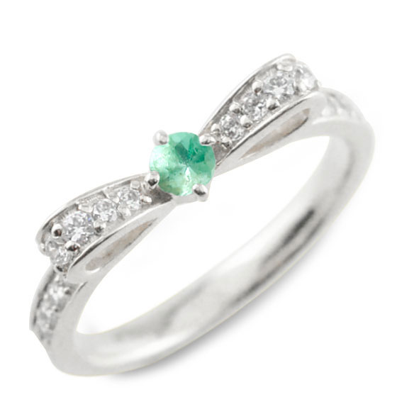 【送料無料】エメラルド ピンキーリング リボンリング リボン ダイヤモンド リング プラチナ 指輪 ダイヤモンド 誕生石 pt900 ダイヤ 婚約指輪 結婚指輪 レディース ホワイトデー