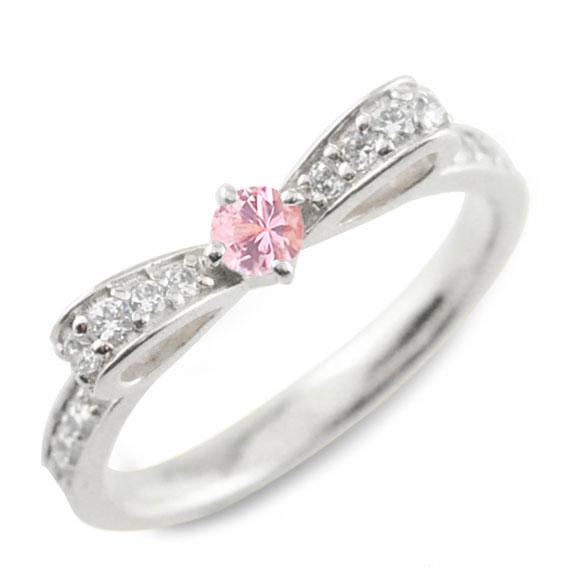ピンクサファイア サファイア ピンキーリング リボンリング リボン ダイヤモンドリング プラチナ 指輪 ダイヤモンド 誕生石 pt ダイヤ 婚約指輪 結婚指輪 レディース