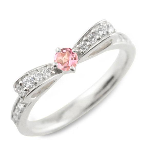 【送料無料】トルマリン ピンクトルマリン ピンキーリング リボンリング リボン ダイヤモンド リング k18 18k 18金 指輪 ダイヤモンド 誕生石 ホワイトゴールドk18 ダイヤ 婚約指輪 結婚指輪 レディース クリスマス Xmas