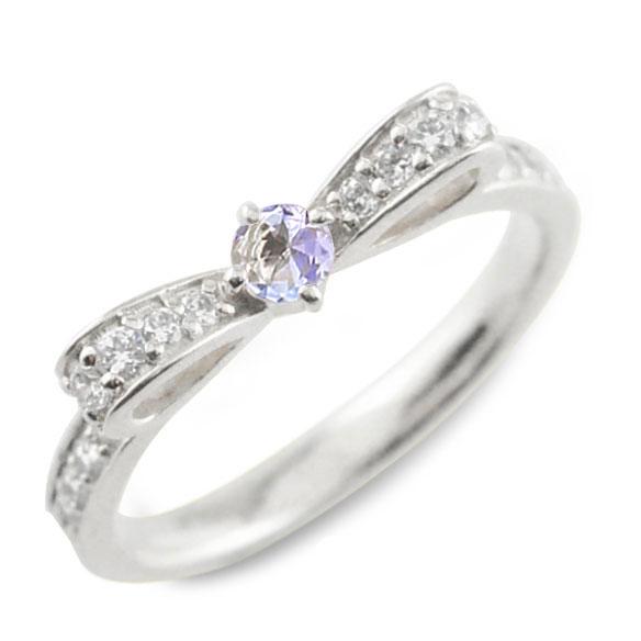 タンザナイト ピンキーリング リボンリング リボン ダイヤモンド リング プラチナ 指輪 ダイヤモンド 誕生石 pt900 ダイヤ 婚約指輪 結婚指輪 レディース