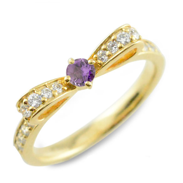 【送料無料】アメジスト ピンキーリング リボンリング リボン ダイヤモンド リング k18 18k 18金 指輪 ダイヤモンド 誕生石 イエローゴールドk18 ダイヤ 婚約指輪 結婚指輪 レディース ホワイトデー