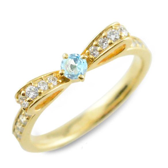 【送料無料】ブルートパーズ ピンキーリング リボンリング リボン ダイヤモンド リング k18 18k 18金 指輪 ダイヤモンド 誕生石 イエローゴールドk18 ダイヤ 婚約指輪 結婚指輪 レディース ホワイトデー