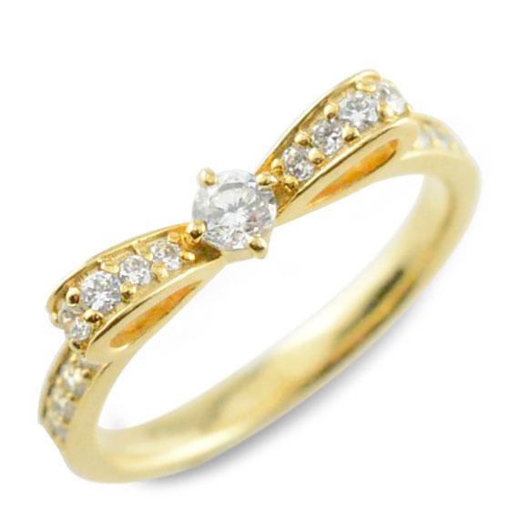 ピンキーリング リボンリング ダイヤモンドエンゲージリング リボン ダイヤモンドリング 指輪 ダイヤモンド イエローゴールドk18 ダイヤ 婚約指輪 エンゲージリング 結婚指輪 レディース