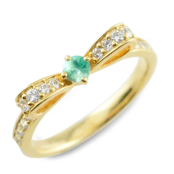【送料無料】エメラルド ピンキーリング リボンリング リボン ダイヤモンドリング k18 18k 18金 指輪 ダイヤモンド 誕生石 イエローゴールドk18 ダイヤ 婚約指輪 結婚指輪 レディース ホワイトデー