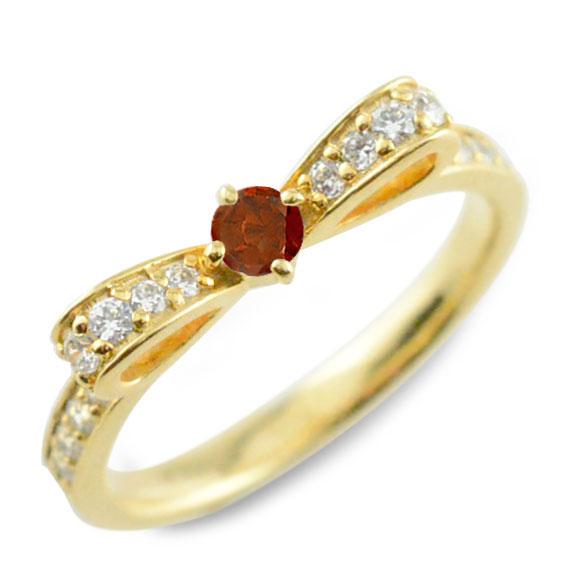 【送料無料】ガーネット ピンキーリング リボンリング リボン ダイヤモンド リング k18 18k 18金 指輪 ダイヤモンド 誕生石 イエローゴールドk18 ダイヤ 婚約指輪 結婚指輪 レディース ホワイトデー