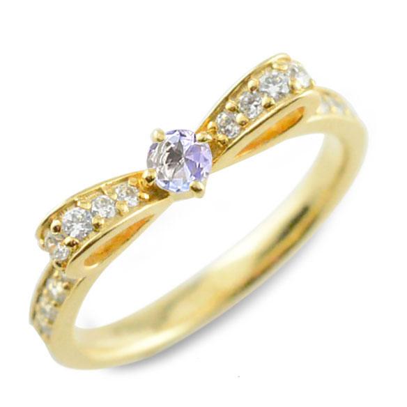 【送料無料】タンザナイト ピンキーリング リボンリング リボン ダイヤモンド リング k18 18k 18金 指輪 ダイヤモンド 誕生石 イエローゴールドk18 ダイヤ 婚約指輪 結婚指輪 レディース ホワイトデー