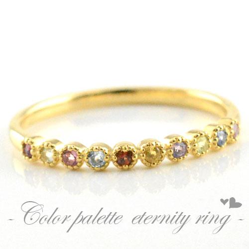 【送料無料】アミュレット ピンキーリング 指輪 レディース イエローゴールド k18 18k 天然石 誕生石 クラシカル ミルウチ