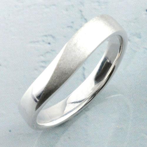 【送料無料】メンズ k18 ゴールド リング ホワイトゴールド シンプル 結婚指輪 ライン カーブ マッド ハンドメイド つや消し 18k 18金