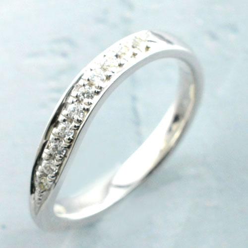 【送料無料】ダイヤモンド リングプラチナ レディース リング シンプル 結婚指輪 ライン カーブ エンゲージリング ハンドメイドpt900 ホワイトデー