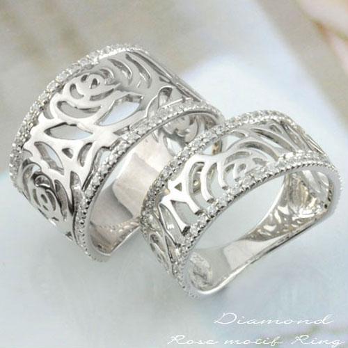 【送料無料】ペアリング ダイヤモンド ローズリング プラチナ ダイヤモンド pt900 メンズ レディース 記念日 指輪 ダイヤ ROSE フラワー ホワイトデー