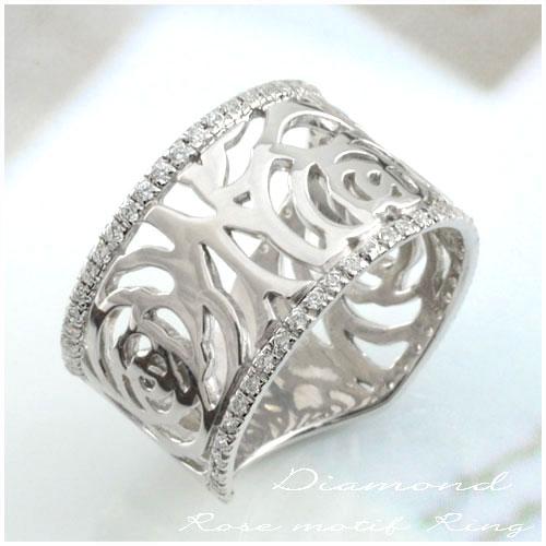 【送料無料】ダイヤモンド ローズリングプラチナ レディース リング シンプル 結婚指輪 ライン カーブ ばら バラ ハンドメイド ROSE pt900 フラワー 幅広 ホワイトデー