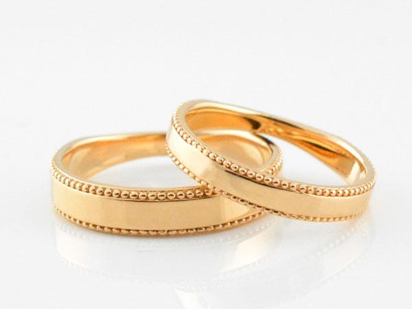 ペアリング マリッジリング 18k ミル打ち 平ウチ ピンクゴールド K18 記念日 レディース メンズ 指輪 婚約指輪 エンゲ4ALRj5