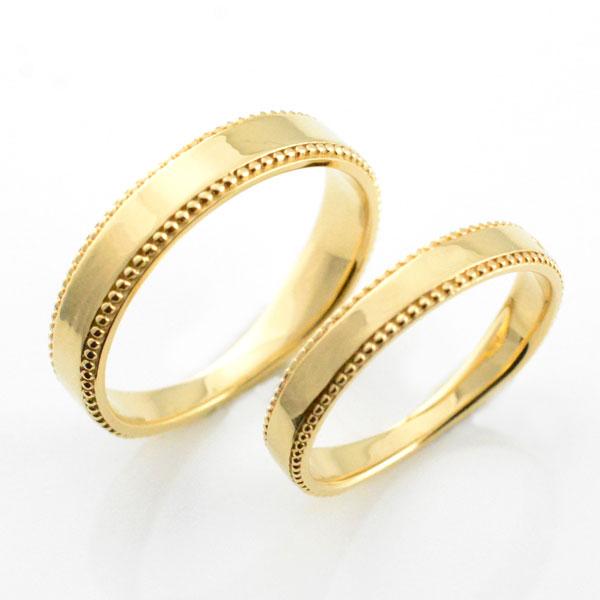 婚約指輪 結婚指輪 マリッジリング エンゲージリングペアリング 18k ミル打ち 平ウチ イエローゴールド K18 記念日 レディース メンズ 指輪 ブライダル