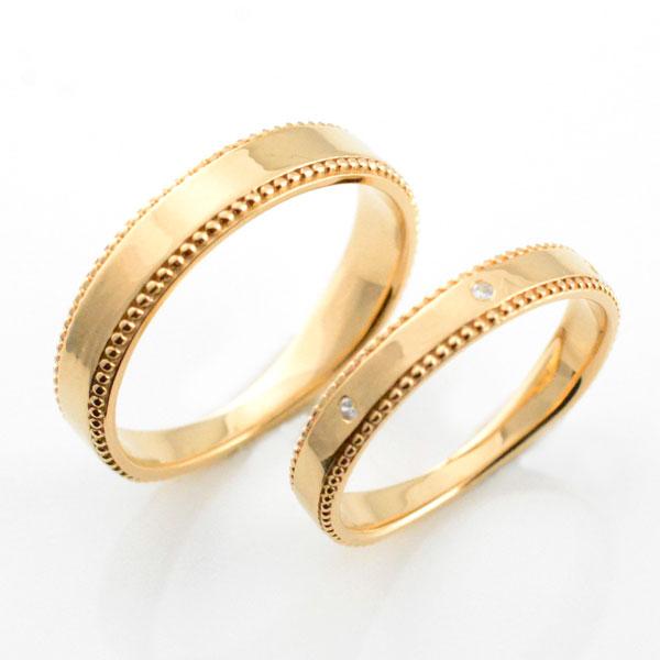 婚約指輪 結婚指輪 マリッジリング エンゲージリング ペアリング 18k ミル打ち 平ウチ ピンクゴールド ダイヤモンド K18 記念日 レディース メンズ 指輪 ブライダル