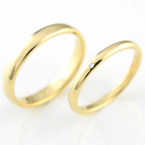婚約指輪 マリッジリング エンゲージリング 結婚指輪 ペアリング 18k 甲丸 ダイヤモンド イエローゴールド K18 記念日 レディース メンズ 指輪 ダイヤ