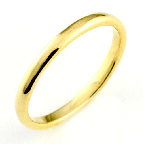 【送料無料】レディース リング イエローゴールドk18 シンプル k18 結婚指輪 エンゲージリング ハンドメイド 甲丸 18k 18金 2mm クリスマス Xmas