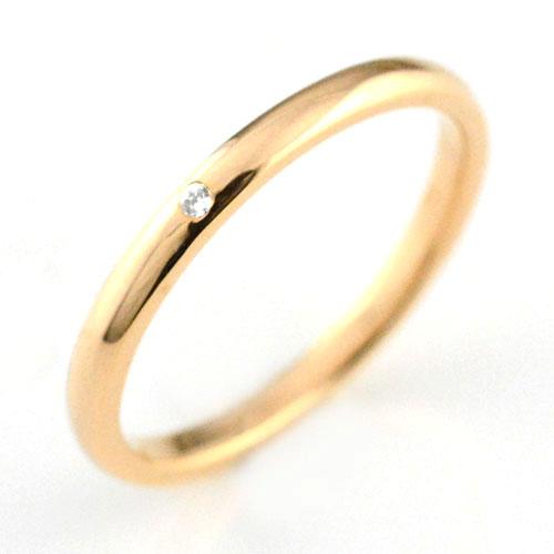 レディース リング ダイヤモンド ピンクゴールドk18 シンプル k18 ダイヤ ダイヤモンド 結婚指輪 エンゲージリング ハンドメイド 甲丸 18k 18金 一粒 2mm
