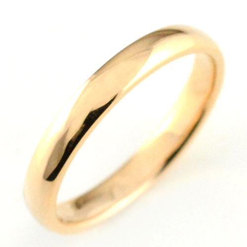 【送料無料】メンズ リング ピンクゴールドk18 シンプル k18 結婚指輪 エンゲージリング ハンドメイド 甲丸 18k 18金 3mm