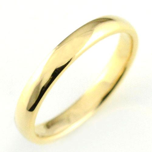 3mm エンゲージリング シンプル 18金 イエローゴールドk18 メンズ 甲丸 ハンドメイド 結婚指輪 k18 リング 18k