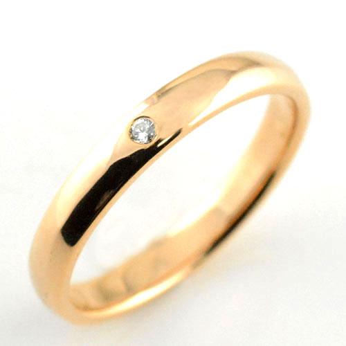 レディース リング ダイヤモンド ピンクゴールドk18 シンプル k18 ダイヤ ダイヤモンド 結婚指輪 エンゲージリング ハンドメイド 甲丸 18k 18金 一粒 3mm