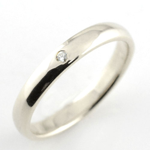メンズ リング ダイヤモンド プラチナ シンプル ダイヤ ダイヤモンド 結婚指輪 ハンドメイド 甲丸 一粒 3mm