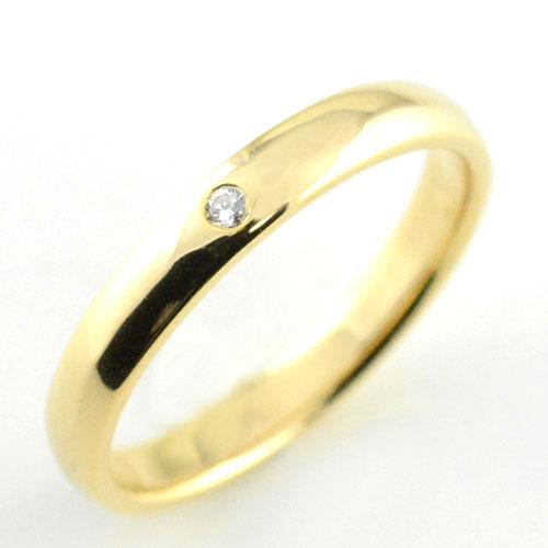 【送料無料】メンズ リング ダイヤモンド イエローゴールドk18 シンプル k18 ダイヤ ダイヤモンド 結婚指輪 ハンドメイド 甲丸 18k 18金 一粒 3mm