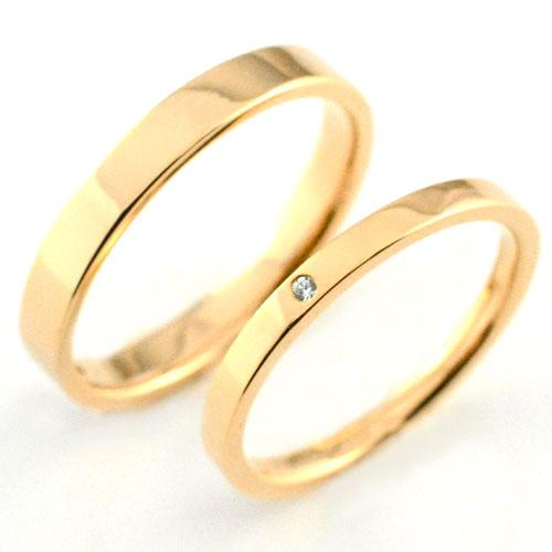婚約指輪 結婚指輪 マリッジリング エンゲージリング ペアリング マリッジリング 18k 平ウチ ダイヤモンド ピンクゴールド K18 記念日 レディース メンズ 指輪 ダイヤ
