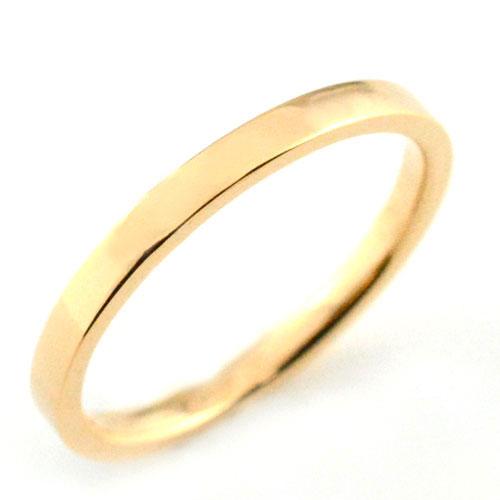 レディース リング ピンクゴールドk18 シンプル k18 ストレート 平打ち 地金リング 結婚指輪 エンゲージリング ハンドメイド 18k 18金 2mm