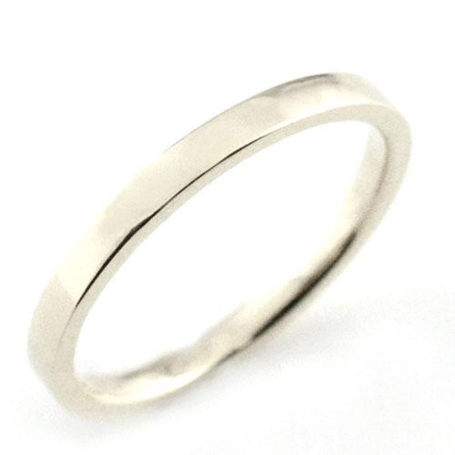 レディース リング プラチナ シンプル k18 ストレート 平打ち 地金リング 結婚指輪 エンゲージリング ハンドメイド プラチナ 2mm